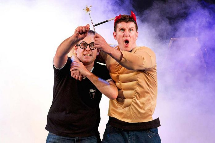 """Creators and original performers Jefferson Turner and Daniel Clarkson in """"Potted Potter: The Unauthorized Harry Experience – A Parody by Dan and Jeff"""". The family-friendly hit parody of the Harry Potter book series, in which two actors recap the plot of all seven books and 360 characters in 70 minutes, comes to Peterborough for two performances at Showplace Performance Centre in downtown Peterborough on March 11 and 12, 2019. (Photo: Potted Productions / Starvox Entertainment)"""