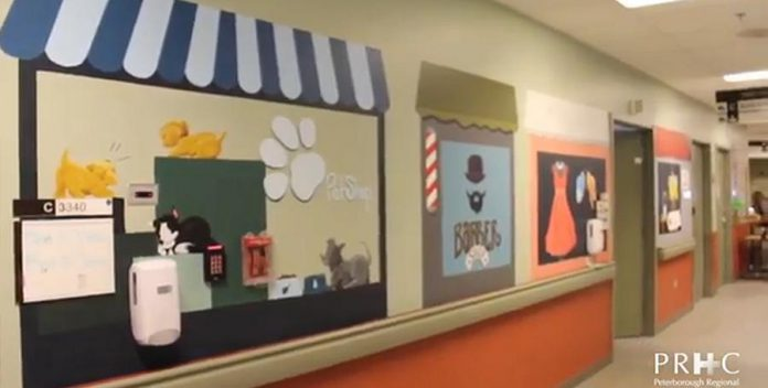 The murals painted by Art School of Peterborough volunteers include illustrations of storefronts from the past, which can encourage patients to reminisce about old memories, as well as flowers, scenic landscapes, and more. (Screenshot from PRHC video)