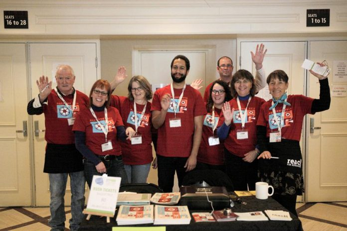 A few of the volunteers at Showplace Performance Centre  in downtown Peterborough at the 2016 ReFrame Film Festival. (Photo courtesy of ReFrame)