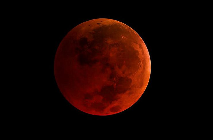 """If there are clear skies, the total lunar eclipse overnight on Sunday, January 20, 2019 will be visible in the Kawarthas. When the earth's shadow falls completely over the moon, it will appear """"blood"""" red. (Photo: NASA)"""
