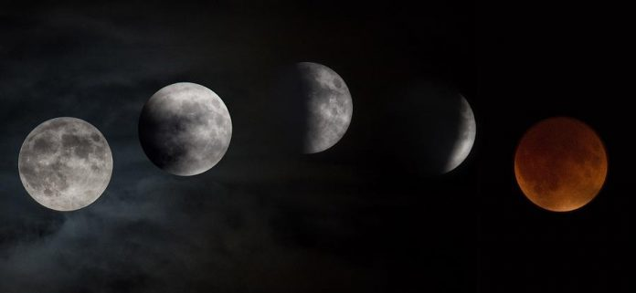 The phases of a total lunar eclipse. The partial eclipse on January 20, 2019 will begin at 10:34 p.m., with the total eclipse beginning at 11:41 p.m. with totality at 12:12 a.m. on January 21, 2019.  (Photo: NASA)