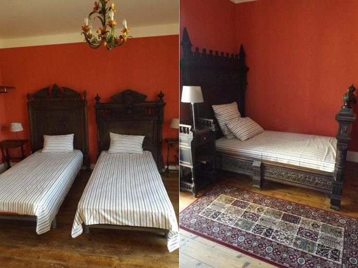 Two of the bedrooms at La Résidence Terrasson, furnished with period pieces handcrafted by a local family of cabinet makers who built pieces for estate homes and chateaus in the region.  The villa can accommodate 10 guests in four bedrooms. (Supplied photos