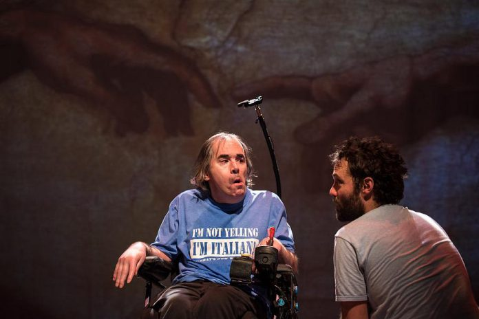 """Tony Diamanti and Dan Watson in """"This is the Point"""", based in part on Watson and his wife Christina Serra's real-life experiences with their a nine-year-old non-verbal Bruno who lives with cerebral palsy.  (Photo: Dahlia Katz)"""
