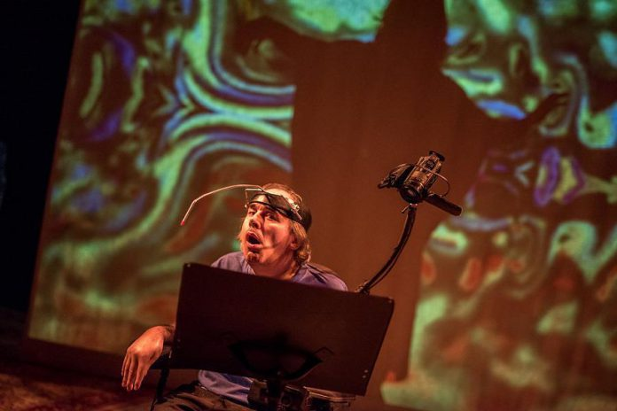 """Writer and playwright Tony Diamanti, who lives with cerebral palsy, is one of the four performers in """"This is the Point"""", the award-winning play by Ahuri Theatre about sex, love, and disability coming to the Market Hall in downtown Peterborough on January 11, 2019. A free public talk with the artists of Ahuri Theatre about sexuality and disability also takes place on January 9, 2019 at Traill College's Bagnani Hall. (Photo: Dahlia Katz)"""