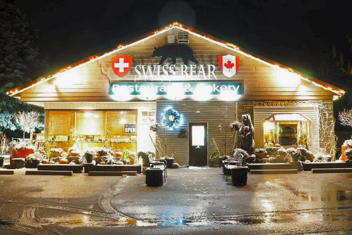 The popular Swiss Bear in Apsley offers classic and European fare, including their signature schnitzel, as well as treats including butter tarts, fruit tarts, and pecan pie and fresh-ground French roast coffee, espresso, and cappuccino. (Photo: Swiss Bear Restaurant & Bakery)
