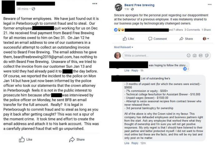 Beard Free Brewing closed in January 2019 following conflict and legal issues between the partners and a former employee. (Screenshots from Facebook, names redacted)
