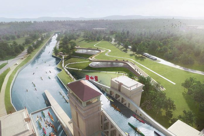 A conceptual rendering of the new Canadian Canoe Museum at the Peterborough Lift Lock National Historic Site. (Illustration: Heneghan Peng architects and Kearns Mancini Architects)