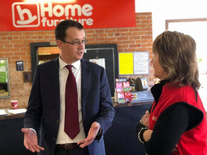 Ontario infrastructure Minister Monte McNaughton speaks with Cornerstone Furnishings co-owner Diane McNamara in Fenelon Falls. (Photo: Office of  Monte McNaughton)