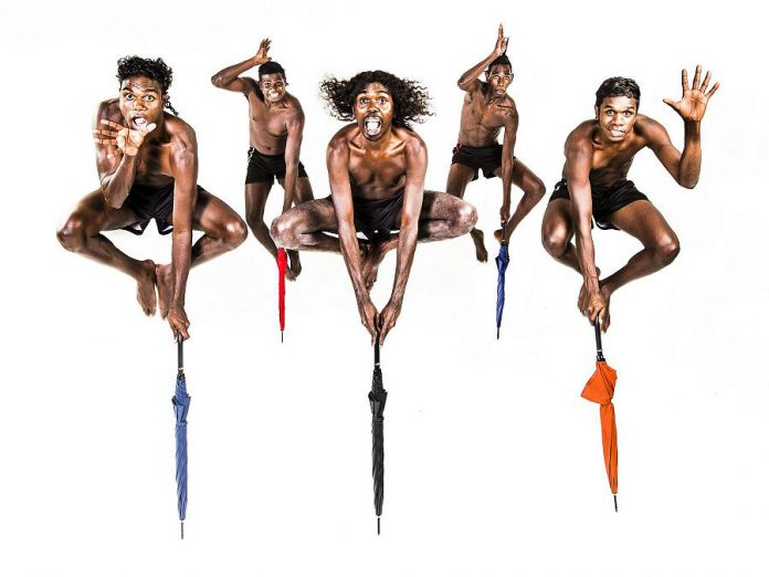 "Public Energy is bringing two dance performances by Austrailian indigenous artists to Peterborough in February, including the dance troupe Djuki Mala from a remote island off the tip of northern Austrailia. The five dancers fuse their traditional Yolngu culture with pop culture, dance, clowning, and storytelling in a February 5, 2019 show at Showplace that appeals to audiences of all ages. On February 19, 2019, dance artist Victoria Hunt presents her solo dance work ""Copper Promises: Hinemihi Haka"" at the Market Hall. (Supplied photo)"