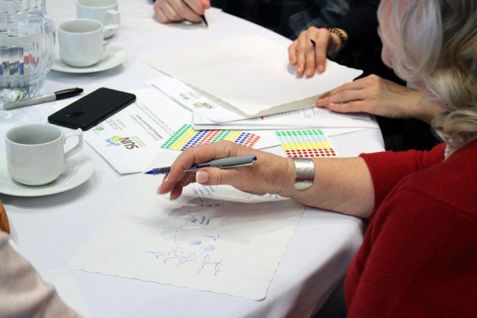 A speed-drawing activity at the recent Sustainable Urban Neighbourhoods gathering saw participants sketch out their vision for their neighbourhood. (Photo: Karen Halley / GreenUP)