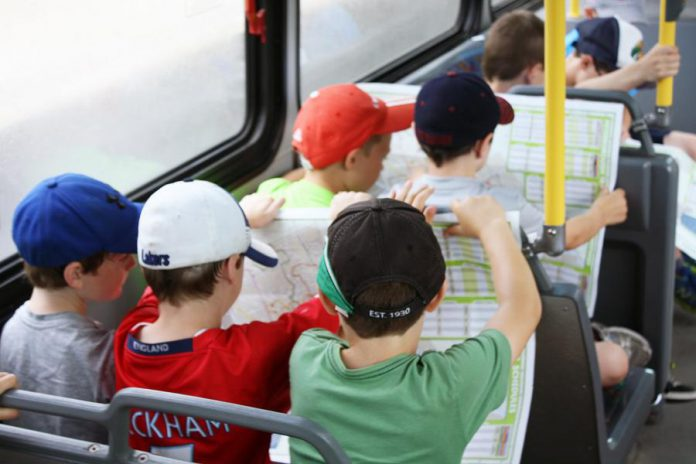Grade three students participating in the On The Bus program learn how to navigate Peterborough Transit bus routes. (Photo courtesy of GreenUP)