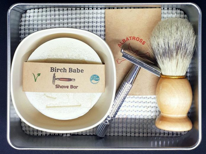 A shaving kit with all-natural shaving soap from Debbie Alger of Birch Babe Naturals. (Photo: Birch Babe Naturals)