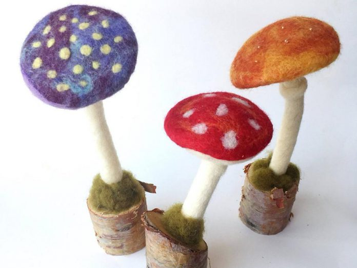 Manon Gagnon of Atelier Frankie is a felt and fibre artist who creates whimsical works of art like these mushrooms. She is one of more than 40 local artisans whose handmade products and crafts are available at the GreenUP Store at 378 Aylmer Street North in downtown Peterborough. (Photo: Manon Gagnon)