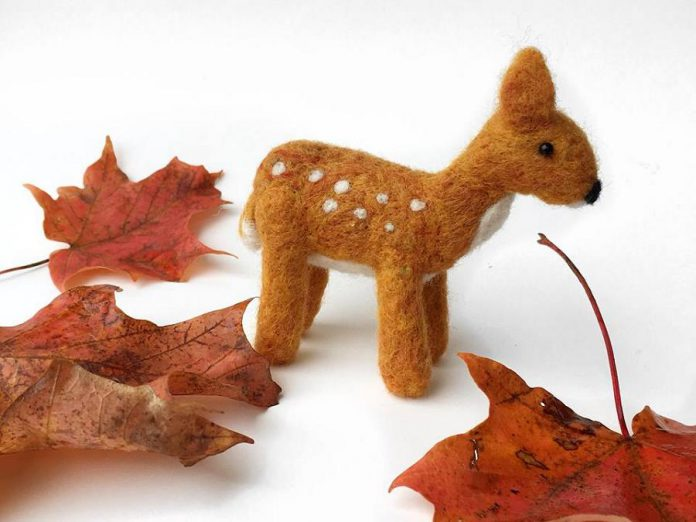 Manon Gagnon is an experienced felt and fibre artist who creates a variety of woodland flora and fauna through the painstaking process of needle felting. (Photo: Manon Gagnon)