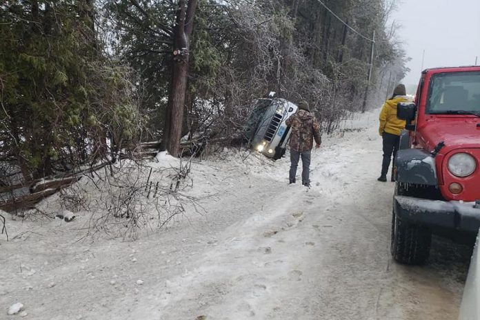 A vehicle also went off the road on County Road 6. (Photo courtesy of Geri-Lynn Cajindos)
