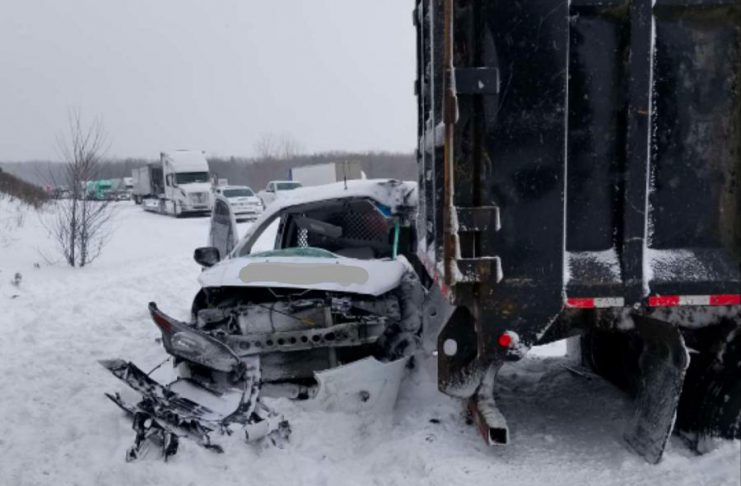 A jackknifed tractor trailer and four other vehicles were involved in a serious collision on Highway 401 near Brighton on the morning of February 13, 2019. One of the drivers was transported to hospital with serious injuries. (Photo: Northumberland OPP)