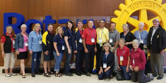 Some of the many members of the Rotary Club of Peterborough Kawartha, including Tom Bennett (fourth from left), at the 2018 Rotary Convention in Toronto. (Photo courtesy of Donna Geary)