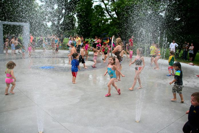 The Rotary splash pad at Nicholls Oval was constructed in June 2013, funded by Kawartha Rotary, community donations, the City of Peterborough, and more. (Photo courtesy of Rotary Club of Peterborough Kawartha)