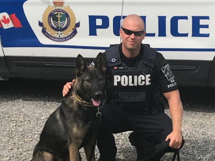 The 2018 Kawartha Rotary Christmas Auction raised funds for the purchase and training of Isaac, the newest member of the Peterborough Police Service's Canine Unit, pictured with his handler Constable Bob Cowie. (Photo courtesy of Rotary Club of Peterborough Kawartha)