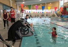 """The """"pool pod"""" at Peterborough Sport and Wellness Centre at Fleming College assists people with mobility impairments to get in and out of a pool independently. (Photo: City of Peterborough)"""