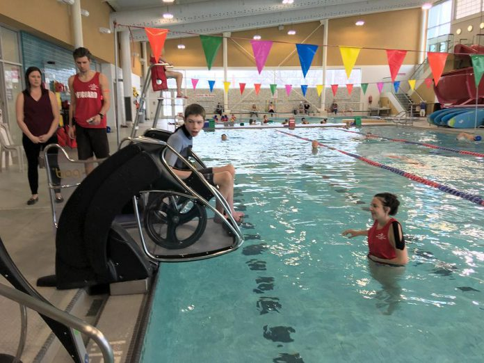 "The ""pool pod"" at Peterborough Sport and Wellness Centre at Fleming College assists people with mobility impairments to get in and out of a pool independently. (Photo: City of Peterborough)"