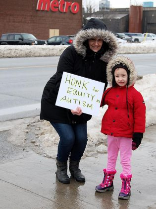 The protest against changes to Ontario Autism Program held outside Northumberland—Peterborough South MPP David Piccini's constituency office in Port Hope was one of several across Ontario on  February 15, 2019. (Photo: April Potter / kawarthaNOW.com)