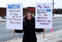 Marjory Leveille is raising her autistic nine-year-old son on her own. She was one of around 25 protesters who gathered outside of Northumberland—Peterborough South MPP David Piccini's constituency office at 117 Peter Street in Port Hope on February 15, 2019 to raise awareness of the impact of the Ontario goverment's changes to the Ontario Autism Program announced on February 6th. (Photo: April Potter / kawarthaNOW.com)