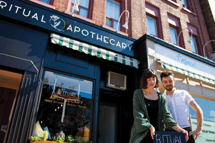 Peterborough police are investigating break-ins at a Hunter Street East business and two businesses on Charlotte Street, including at Ritual Apothecary, the winner of the 2018 Win This Space entrepreneurial competition in downtown Peterborough. All three break-ins took place between February 14 and 17, 2019. (Photo: Peterborough DBIA)