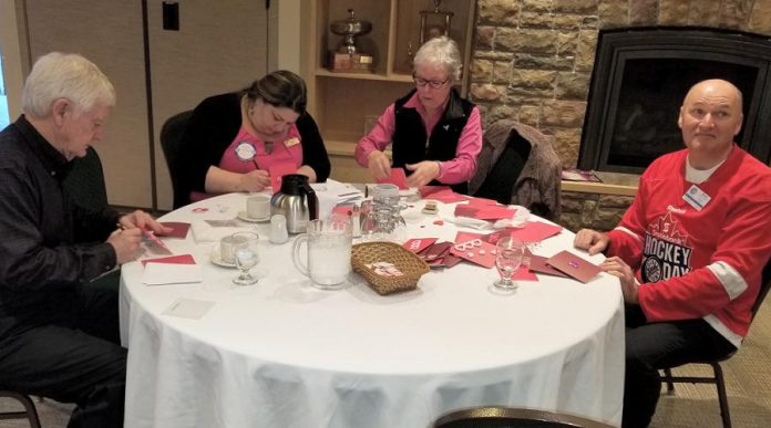 Barb Overwijk from Rubidge Retirement Residence (second from left) with Janet McLeod and some other Kawartha Rotary members at their January 24th meeting. Rotary members made 80 customized Valentine's Day cards for residents of Rubidge Retirement Residence. (Photo courtesy of Rotary Club of Peterborough Kawartha)