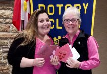 Barb Overwijk from Rubidge Retirement Residence and Kawartha Rotary member Janet McLeod with a few of the 80 customized Valentine's Day cards Rotary members made for residents of Rubidge Retirement Residence in Peterborough. (Photo courtesy of Rotary Club of Peterborough Kawartha)