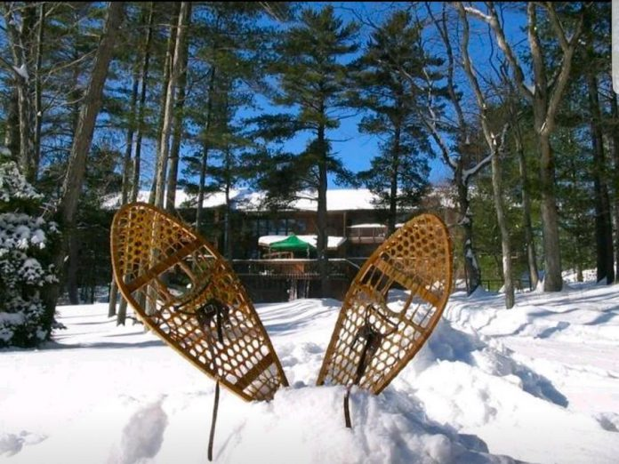 A pair of snowshoes at Westwind Inn on the shores of Lower Buckhorn Lake, an ideal destination for a romantic getaway, some winter fun, or maybe a bit of both. You can also rent private cottages at Beachwood Resort or Catalina Bay Resort, visit Gallery on The Lake, Whetung Ojibwa Centre, and Kawartha Country Wines, eat at Lock Stop Cafe or Pizza Alloro, and more. (Photo courtesy of Westwind Inn)