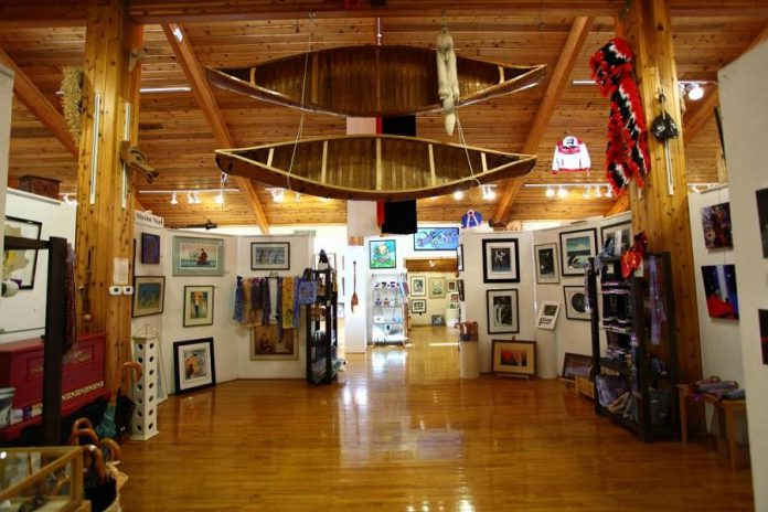 Beyond the central gift shop area is a gallery featuring framed fine art and sculpture, original paintings, posters, limited editions, and cards. (Photo courtesy of Whetung Ojibwa Centre)
