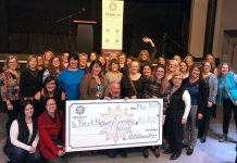 rock Mission executive director Bill McNabb (centre) celebrates the collective donation of more than $10,200 from members of the 100 Women Peterborough group at The Venue in downtown Peterborough on March 19, 2019. Brock Mission is the fifth local organization to receive a donation of at least $10,000 from group since its formation in early 2018. (Photo: Rosalea Terry)