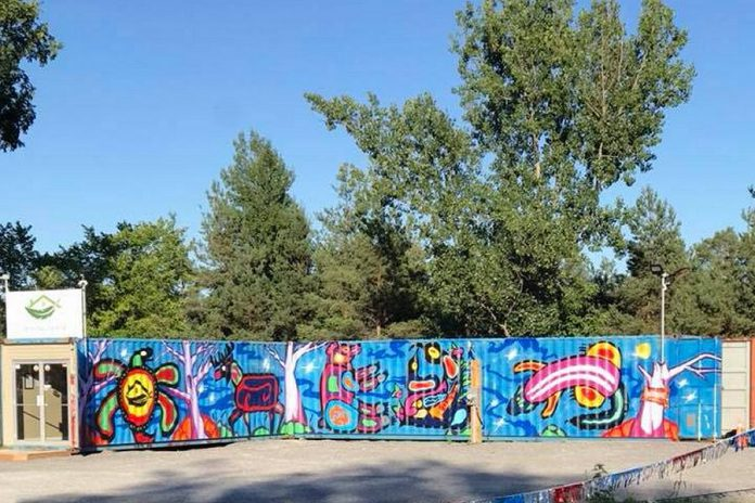 Healing House Medicinals is the most distinctive cannabis dispensary in Alderville First Nation, consisting of two shipping containers that have been joined together and painted with graffiti. (Photo: Healing House Medicinals)