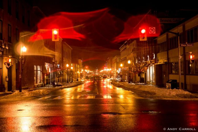 A wet winter's night at Hunter Street at Water Street in downtown Peterborough, 2019. (Photo: Andy Carroll)