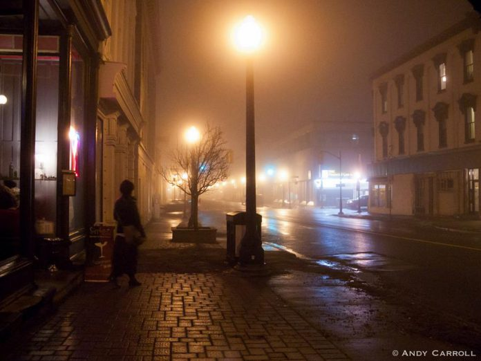 Fog on Hunter Street in downtown Peterborough, 2013.  (Photo: Andy Carroll)