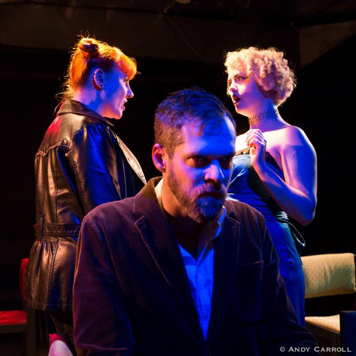 """Nikki Weatherdon, Derek Bell, and Quinn Ferentzy in Jean-Paul Sartre's """"No Exit""""  at The Theatre on King, 2017. (Photo: Andy Carroll)"""