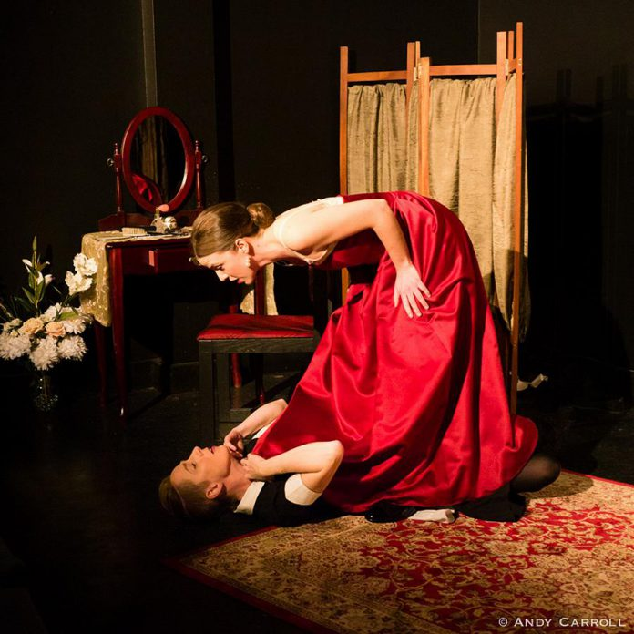 """Kate Story and Lindsay Unterlander in Jean Genet's """"The Maids"""" at The Theatre on King, 2018. (Photo: Andy Carroll)"""