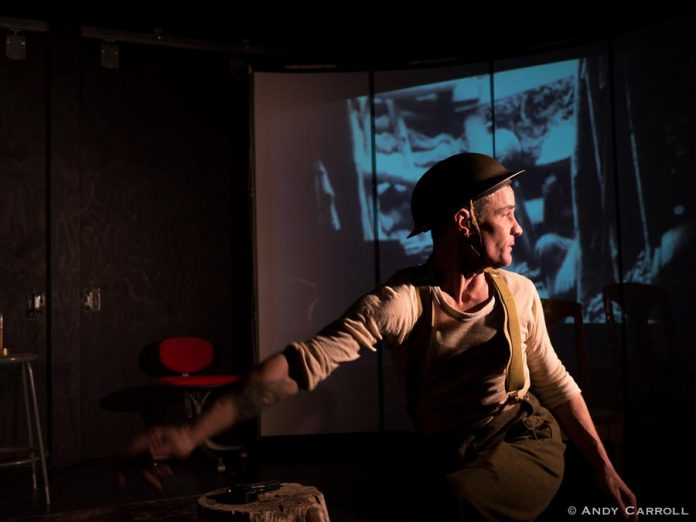 """Ryan Kerr is his original production """"Unexploded Ordnance"""" at The Theatre on King, 2018. (Photo: Andy Carroll)"""