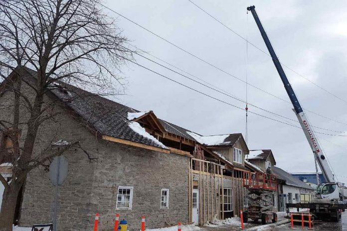 Exterior renovation work is now underway at  historic building at 4 May Street in Fenelon Falls. (Photo: Fenelon Falls Brewing Co.)
