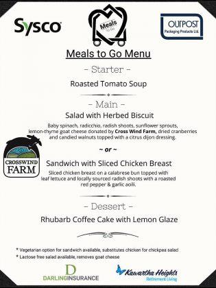 Community Care Peterborough's Meals to Go menu. (Graphic: Community Care Peterborough)