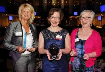 Gwyneth James of Cody & James Chartered Professional Accountants (middle) was named the Business Woman of the Year at the 2016 Peterborough Examiner Women in Business Awards, with Bridget Leslie of My Left Breast (left) and Betty Halman-Plumley of Investors Group (right) as finalists. The 2019 Women in Business Award, along with the Judy Heffernan Award, is now being presented by the Women's Business Network of Peterborough. Nominations for the two awards are now open until March 16, 2019. (Supplied photo)