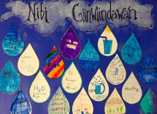 "Children at the 2018 Curve Lake Summer Day Camp, while participating in the GreenUP Wonders of Water Program, created this poster featuring their love notes to water. The theme of World Water Day 2019 on Friday, March 22nd is ""Leaving no one behind"": whoever you are, wherever you are, water is your human right. More than two billion people live without safe water at home, and those of us who have easy access to potable water should take the time on Friday to show our gratitude. Children at the 2018 Curve Lake Summer Day Camp created a poster featuring their love notes to water, while participating in the GreenUP Wonders of Water Program. (Photo: Karen O'Krafka)"