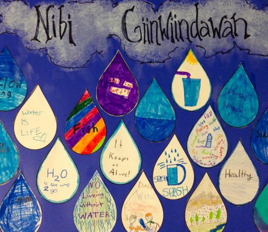 """Children at the 2018 Curve Lake Summer Day Camp, while participating in the GreenUP Wonders of Water Program, created this poster featuring their love notes to water. The theme of World Water Day 2019 on Friday, March 22nd is """"Leaving no one behind"""": whoever you are, wherever you are, water is your human right. More than two billion people live without safe water at home, and those of us who have easy access to potable water should take the time on Friday to show our gratitude. Children at the 2018 Curve Lake Summer Day Camp created a poster featuring their love notes to water, while participating in the GreenUP Wonders of Water Program. (Photo: Karen O'Krafka)"""
