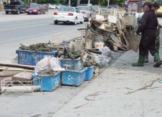 On July 15, 2004, a small but spectacular storm dumped more than 150 mm of rain in parts of the City of Peterborough in less than an hour. The city's sewer system couldn't cope with the huge volume of water, leading to back-ups and basement flooding. Around 12,500 tons of materials were placed in the landfill in the two weeks following the flood. (Photo: City of Peterborough)