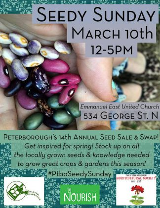 At Seedy Sunday, vendors will be selling a huge diversity of locally grown heirloom vegetable, flower and herb seeds, vermicomposting supplies, bulbs, and fruit trees and bushes. Community groups will be displaying information about their work and providing visitors opportunities to get involved with local food, farming, water, and environmental programs. At the Seed Exchange Area, you can swap seeds with other growers, pick up some new and unique seed varieties, and chat with other seed savers. (Poster: Jillian Bishop)