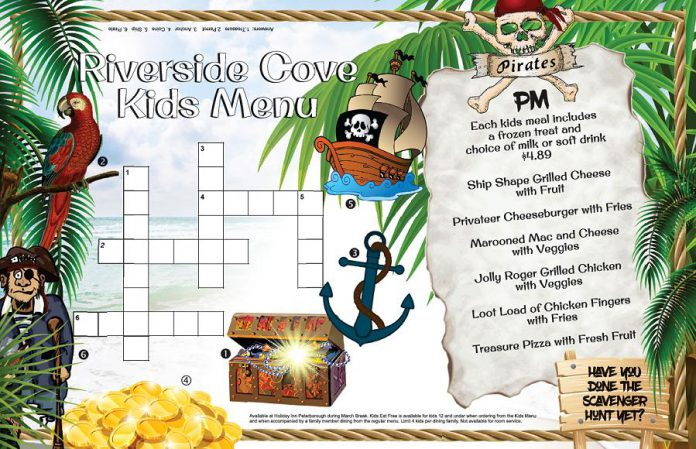One of the pirate-themed kids menus at Holiday Inn Peterborough-Waterfront during March Break. (Graphic: Holiday Inn Peterborough-Waterfront)
