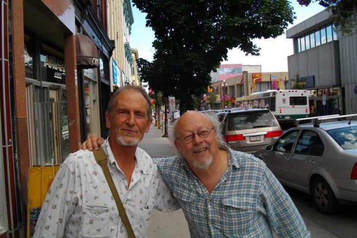 Joe Hall with musician David Essig in Peterborough in 2013. (Photo: David Essig / Facebook)