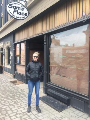 Butcher paper covers the windows of Sam's Place Deli, while owner Sam Sayer completes a brief renovation and refresh. (Photo: Eva Fisher / kawarthaNOW.com)