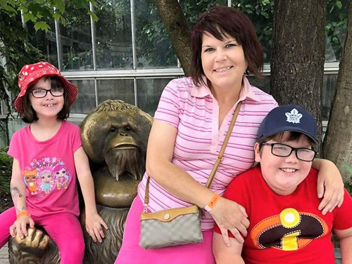 Buffy Molleson with her children Ocean, 8, and Ashton, 9. The Molleson family has been selected as the first family to own one of two homes that Habitat for Humanity Peterborough & Kawartha Region is building in Bobcaygeon this spring. (Supplied photo)